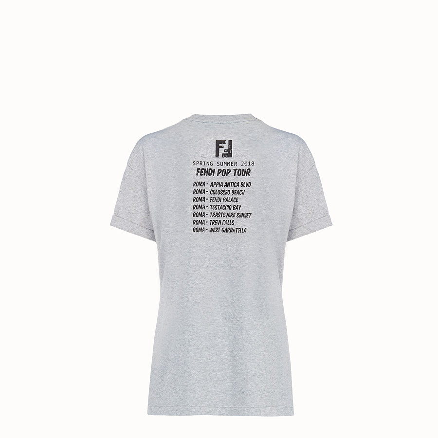 FENDI T-SHIRT - Grey cotton T-shirt - view 4 detail