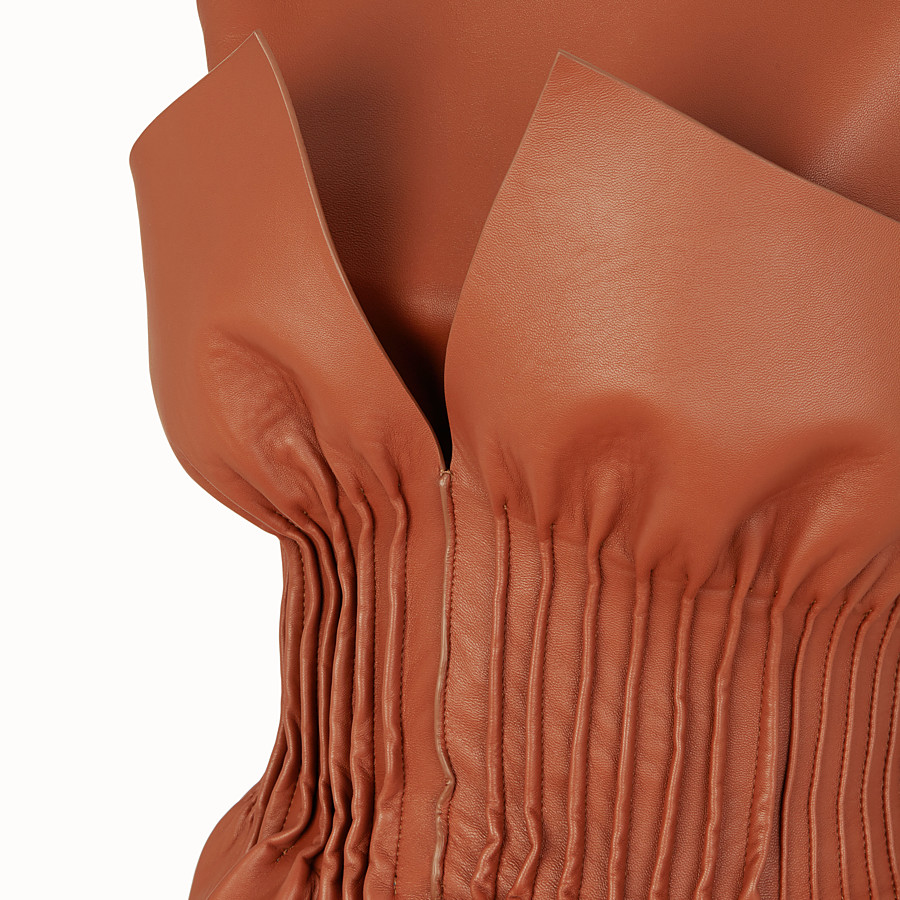 FENDI DRESS - Brown nappa leather dress - view 3 detail