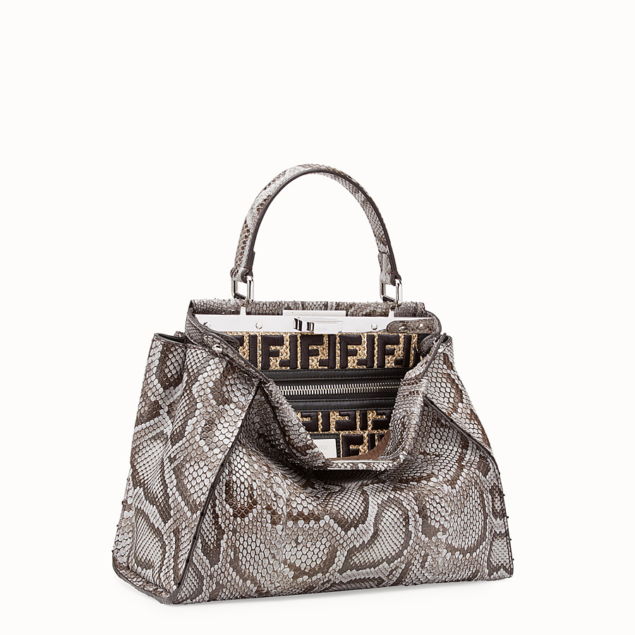 FENDI PEEKABOO REGULAR - Grey python bag - view 2 detail