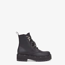 FENDI ANKLE BOOTS - Black leather biker boots - view 1 thumbnail