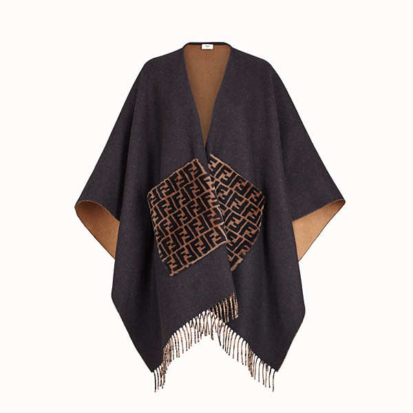 FENDI PONCHO - Black cashmere and wool poncho - view 1 small thumbnail