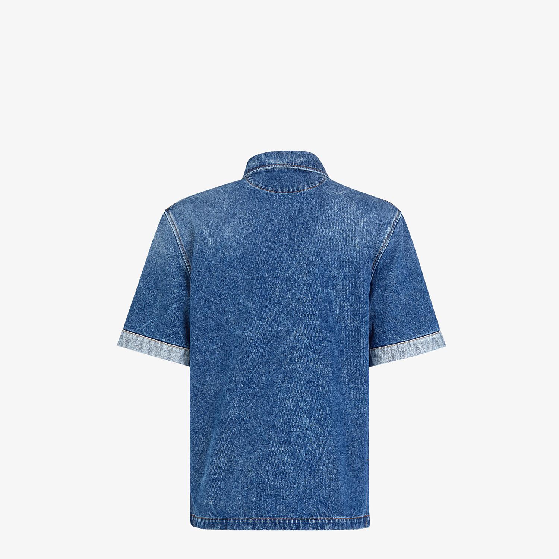 FENDI POLO SHIRT - Blue denim polo shirt - view 2 detail