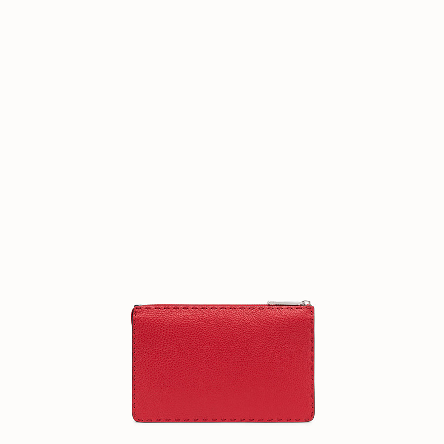 FENDI CLUTCH - Red Romano leather pochette - view 3 detail