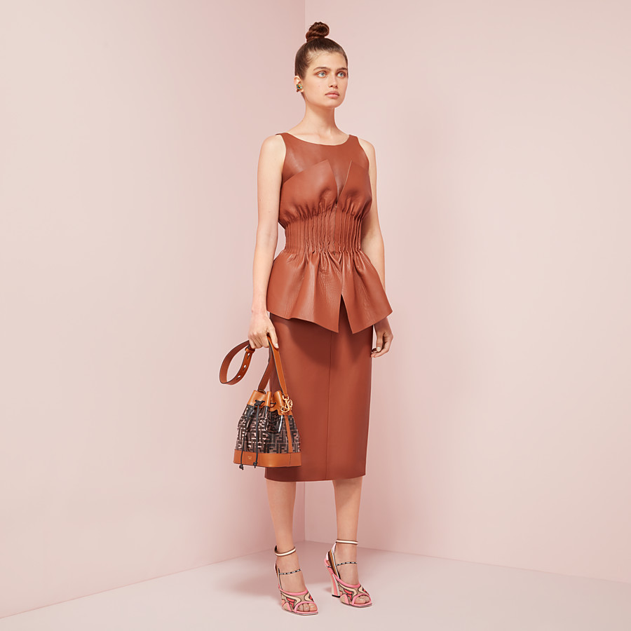 FENDI DRESS - Brown nappa leather dress - view 4 detail