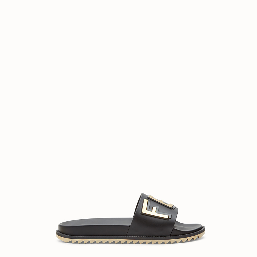 FENDI SLIDES - Black rubber slides - view 1 detail