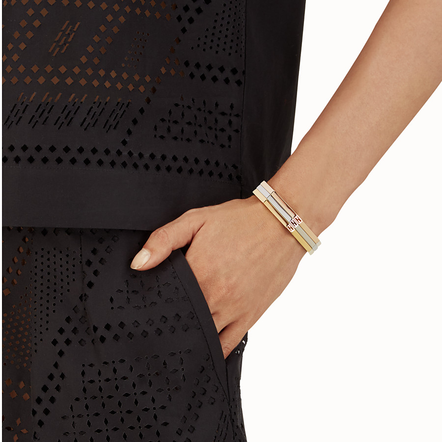 FENDI BAGUETTE BRACELETS - Three bracelets with a gold and palladium finish - view 2 detail