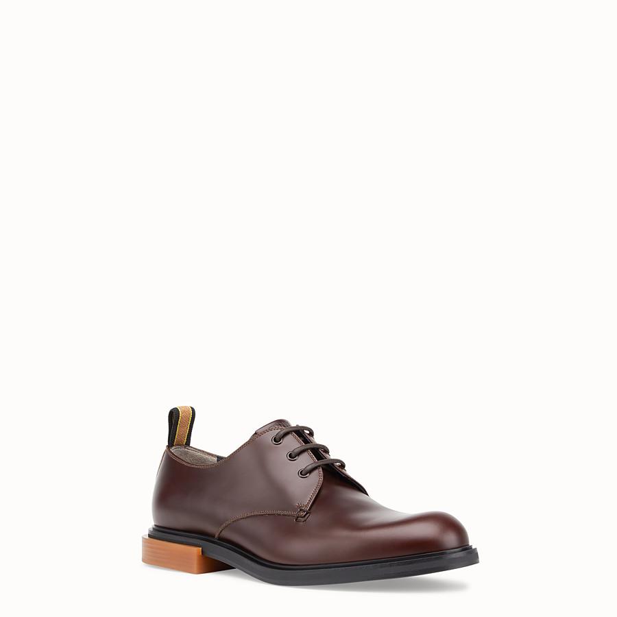 FENDI 繫帶皮鞋 - 棕色皮革繫帶皮鞋 - view 2 detail