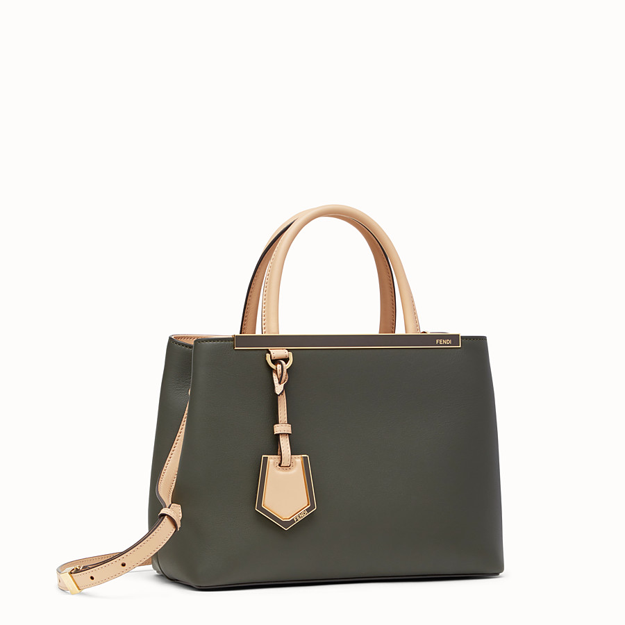 FENDI PETITE 2JOURS - Green and pink leather shopper bag - view 2 detail