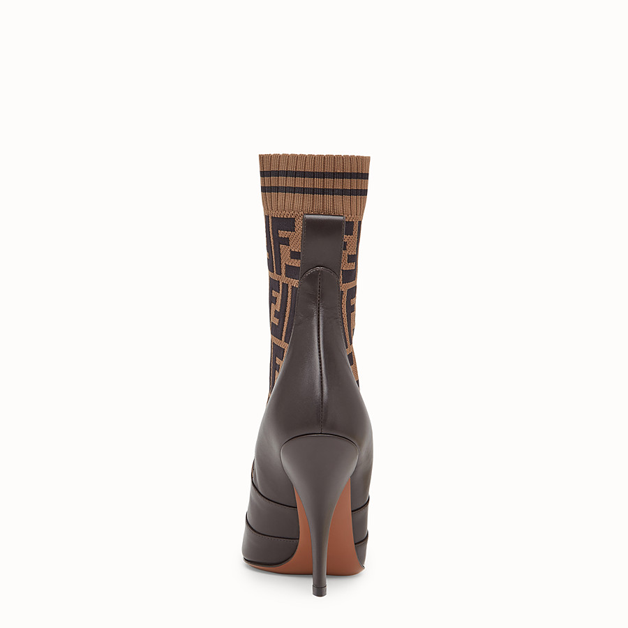 FENDI BOTTES - Bottines en cuir marron - view 3 detail