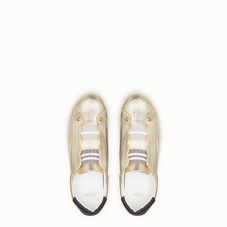 FENDI SNEAKERS - Golden leather sneakers - view 4 detail