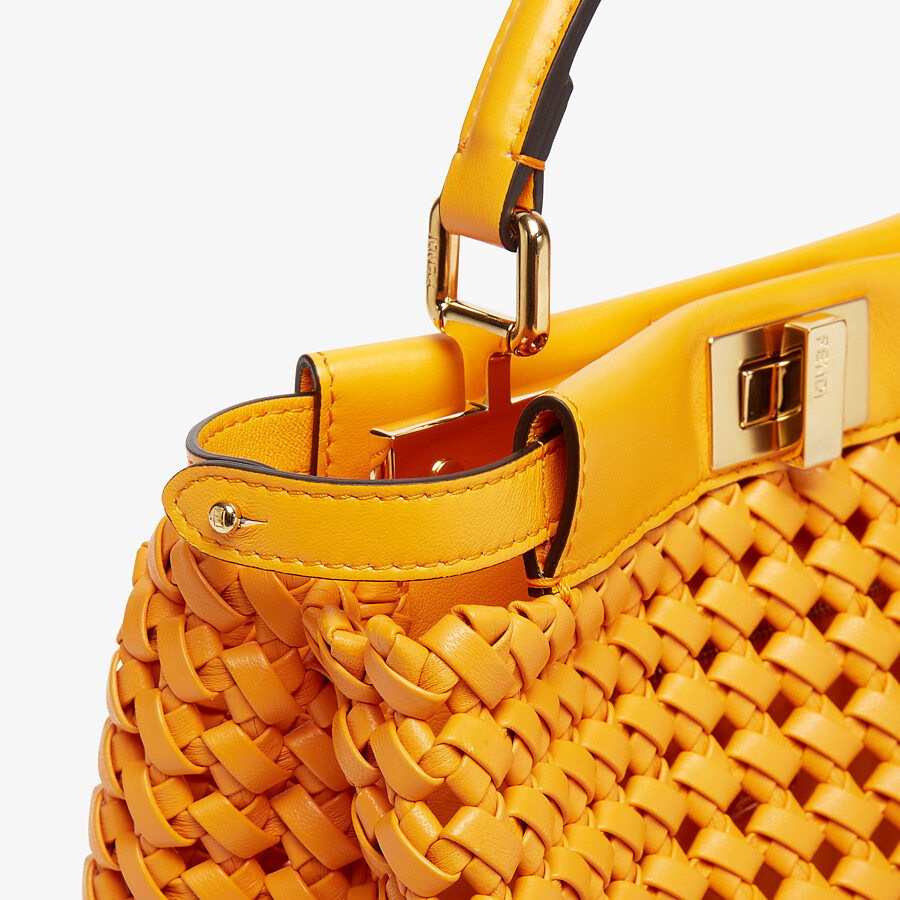 FENDI PEEKABOO ICONIC MINI - Orange braided leather bag - view 5 detail