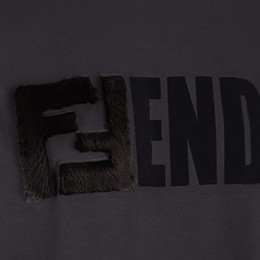 FENDI T-SHIRT - Black jersey T-shirt - view 3 thumbnail
