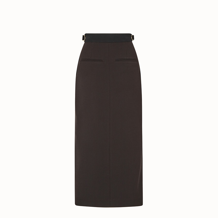 FENDI SKIRT - Black gabardine skirt - view 2 detail