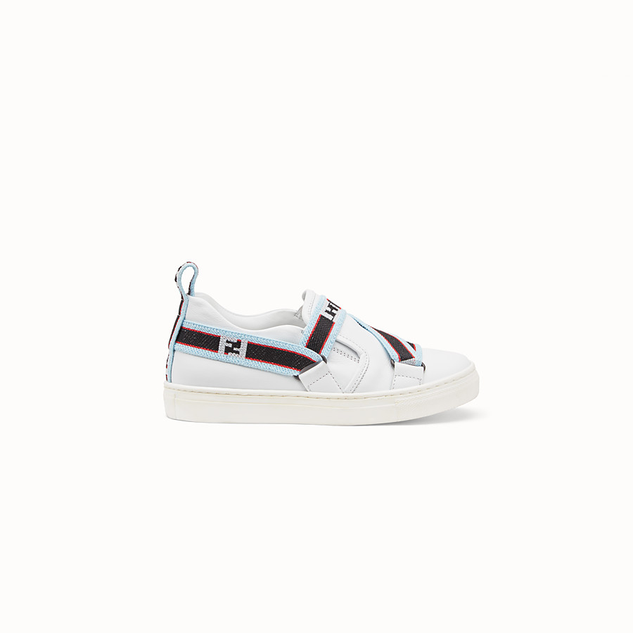 FENDI BOY SLIP-ON - White leather sneakers with multicolour ribbon - view 1 detail