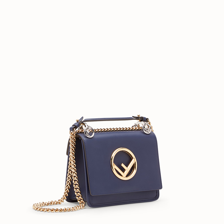 FENDI KAN I F SMALL - Blue leather mini-bag - view 2 detail