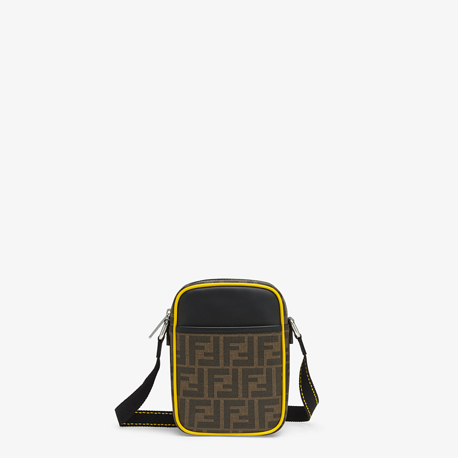 FENDI SMALL MESSENGER - PU and black leather cross-body bag - view 1 detail