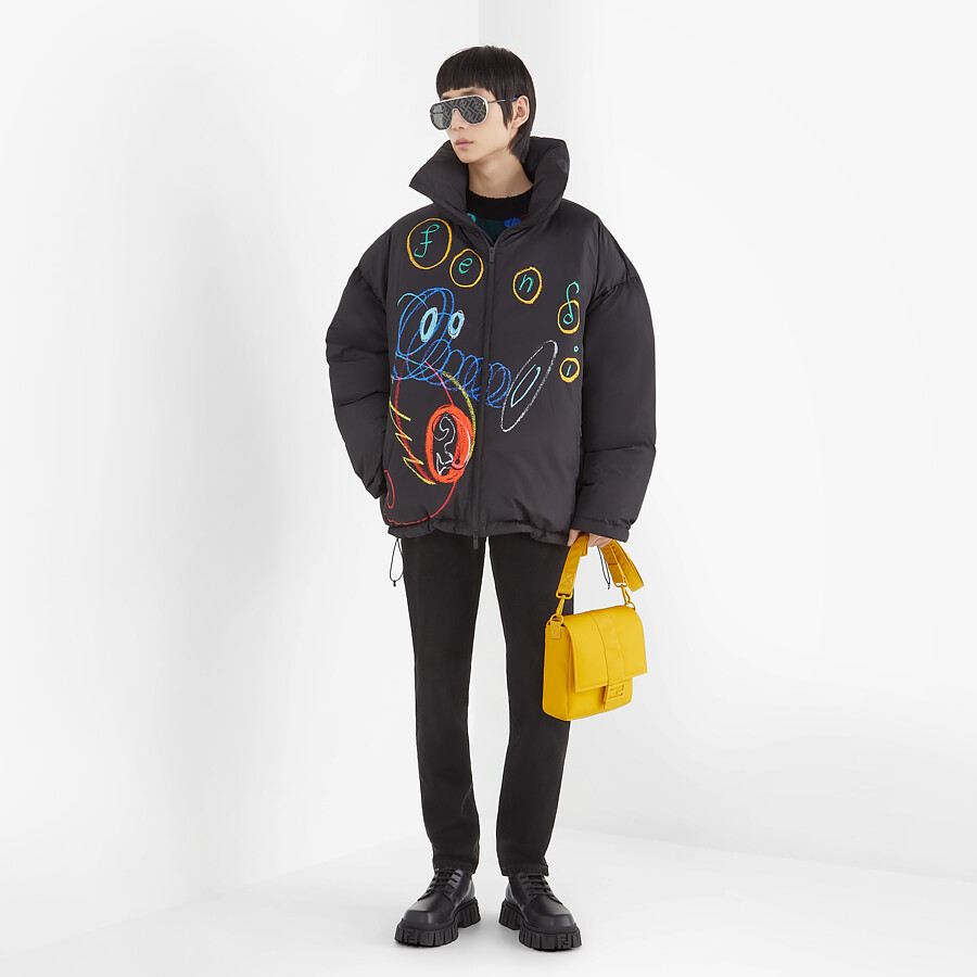 FENDI DOWN JACKET - Black tech fabric jacket - view 4 detail