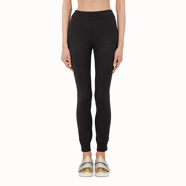 FENDI TROUSERS - Black wool leggings - view 1 small thumbnail