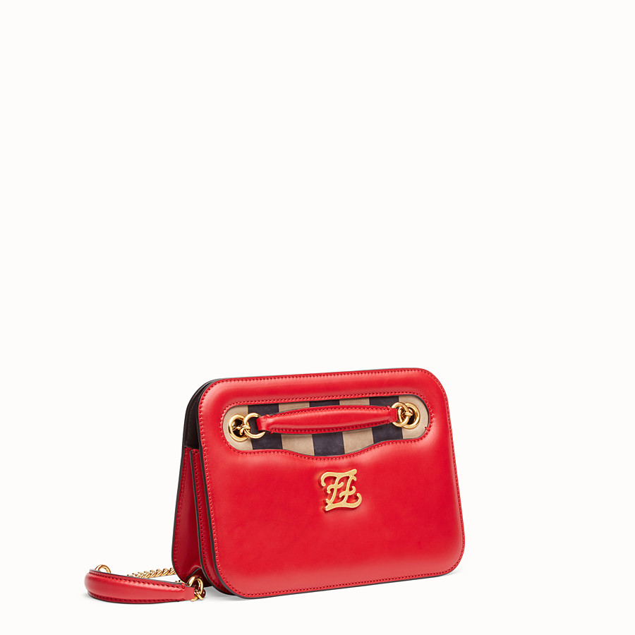 FENDI KARLIGRAPHY POCKET - Red leather bag - view 3 detail