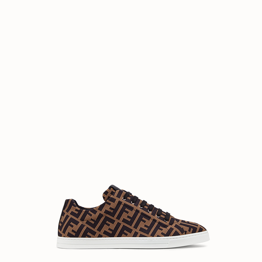 FENDI SNEAKERS - Brown tech fabric low-tops - view 1 detail
