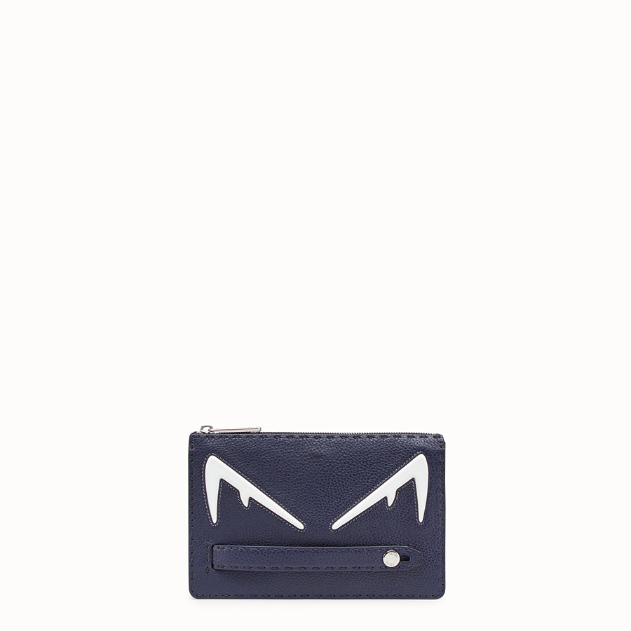 FENDI CLUTCH - Blue Romano leather pochette - view 1 detail