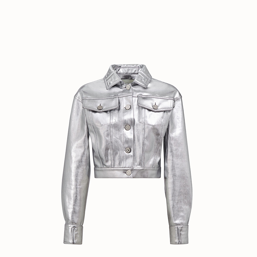 FENDI JACKET - Silver denim jacket - view 1 detail
