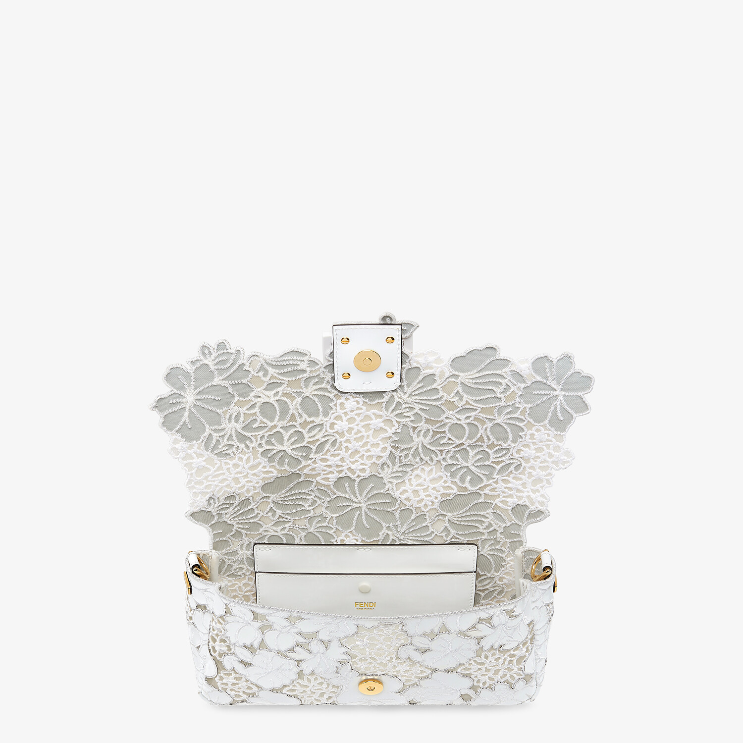 FENDI BAGUETTE - Embroidered white patent leather bag - view 5 detail