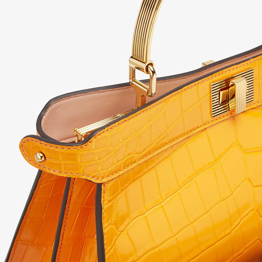 FENDI PEEKABOO ISEEU EAST-WEST - Orange crocodile leather bag - view 5 detail