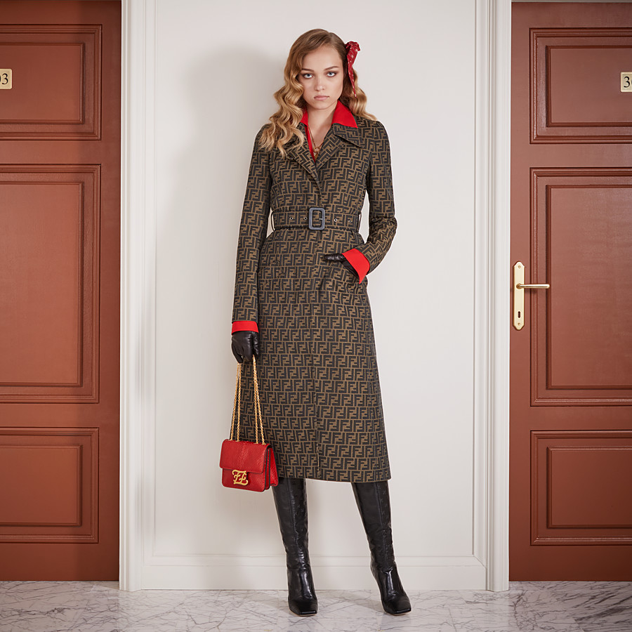 FENDI OVERCOAT - Brown canvas trench coat - view 4 detail