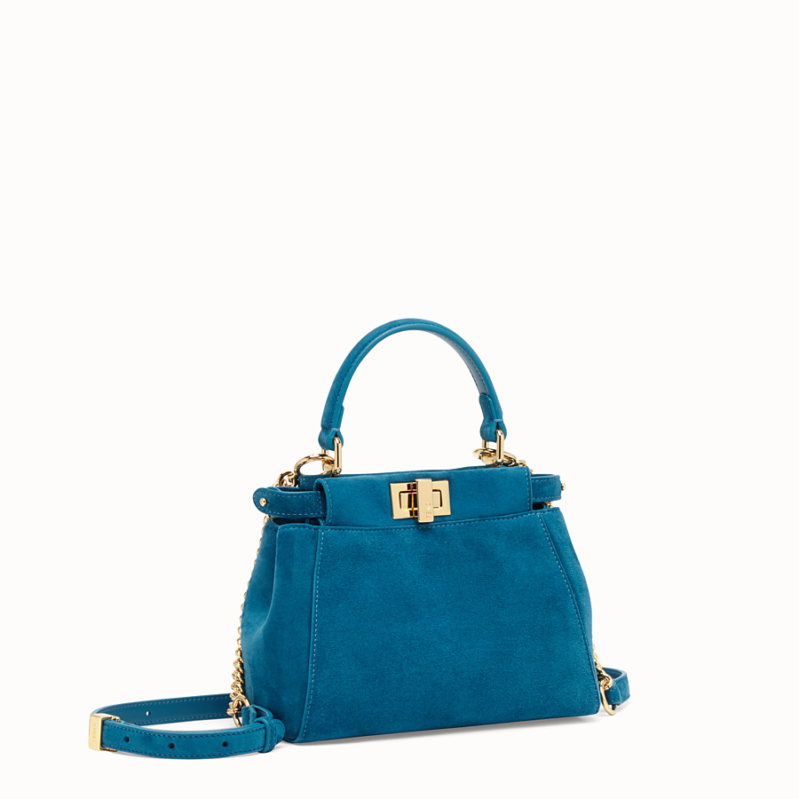 FENDI PEEKABOO ICONIC XS - Blue suede mini bag - view 3 detail