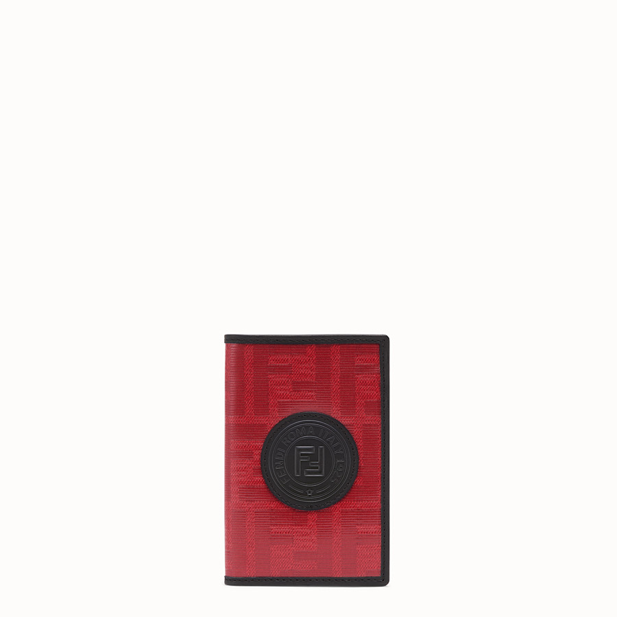 FENDI CARD HOLDER - Red fabric card holder - view 1 detail