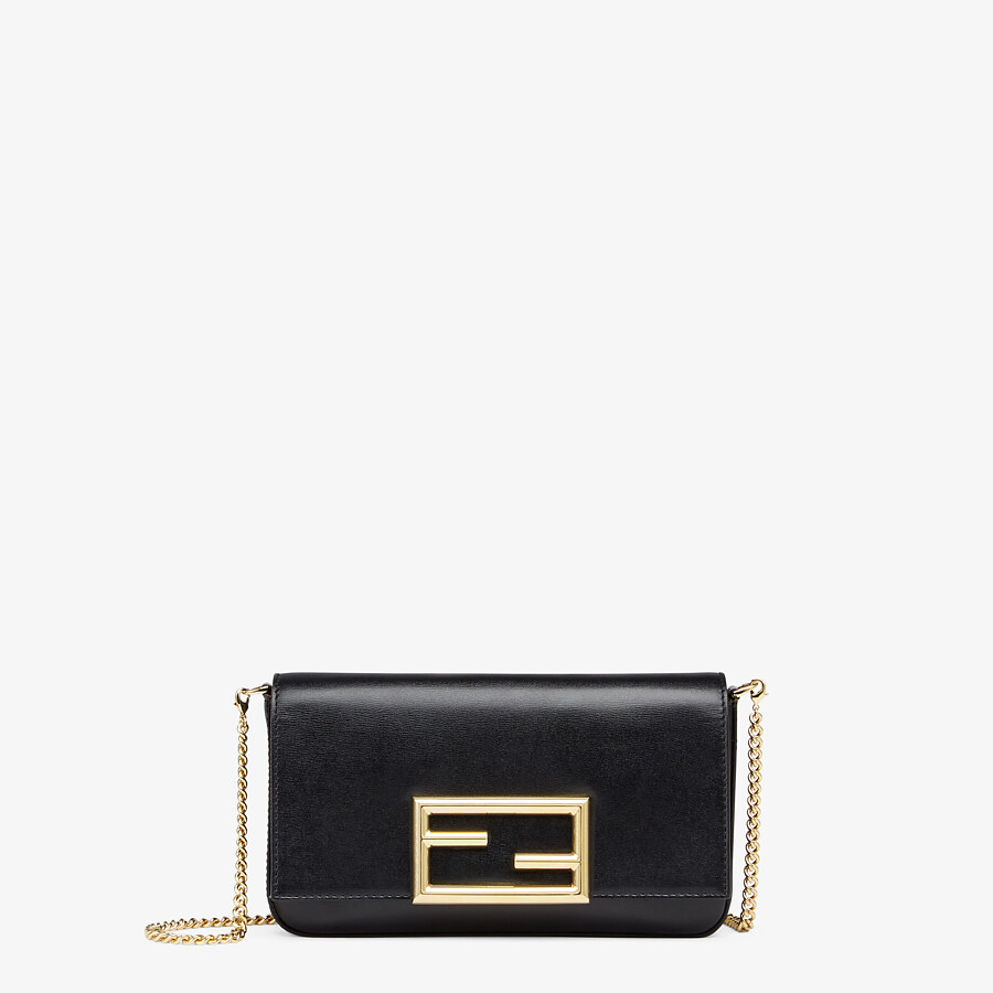 FENDI WALLET ON CHAIN WITH POUCHES - Black leather mini-bag - view 1 detail