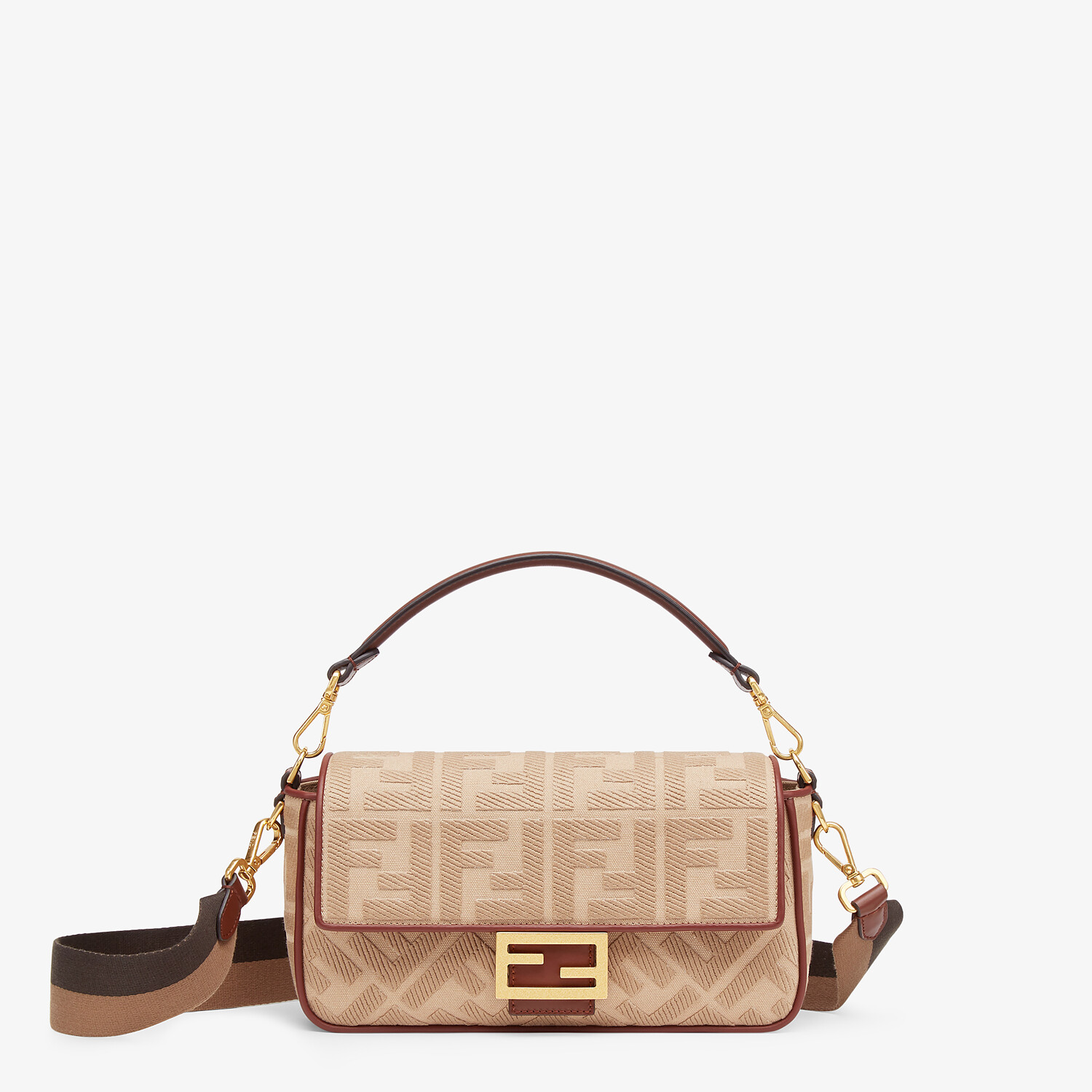 FENDI BAGUETTE - Beige FF canvas bag - view 1 detail