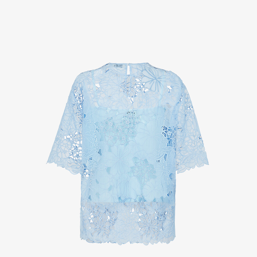 FENDI T-SHIRT - Light blue lace T-shirt - view 2 detail