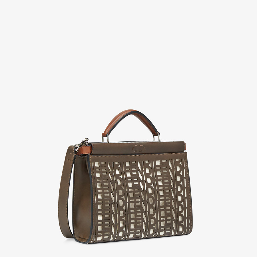 FENDI PEEKABOO ICONIC FIT MINI - Tasche aus Leder in Braun - view 2 detail