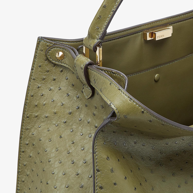FENDI PEEKABOO X-LITE LARGE - Green ostrich leather bag - view 6 detail