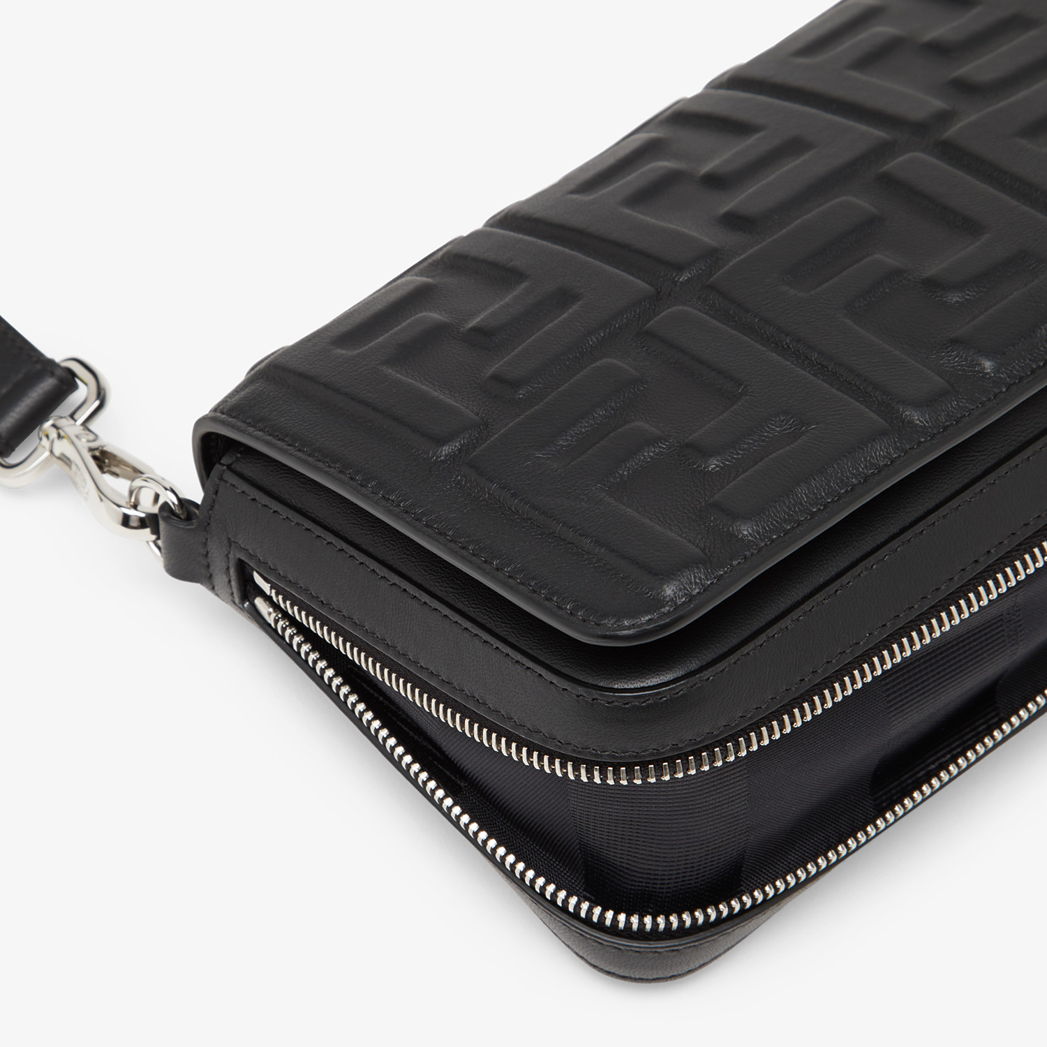 FENDI FLAP BAG - Black nappa leather bag - view 6 detail