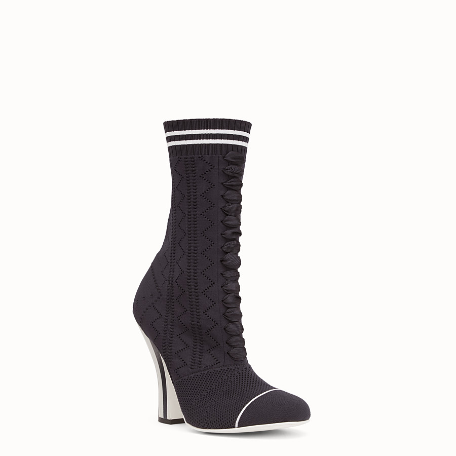 FENDI ANKLE BOOTS - Boots in black and white fabric - view 2 detail