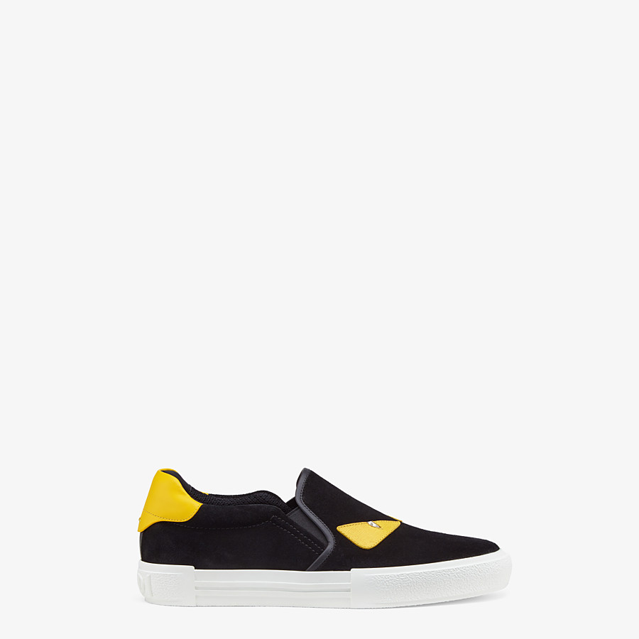 FENDI SNEAKER - Black leather slip-on - view 1 detail