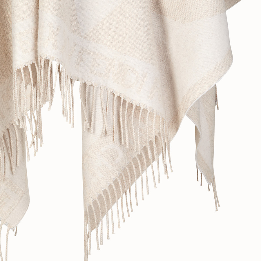 FENDI TOUCH OF FUR PONCHO - White wool poncho - view 3 detail