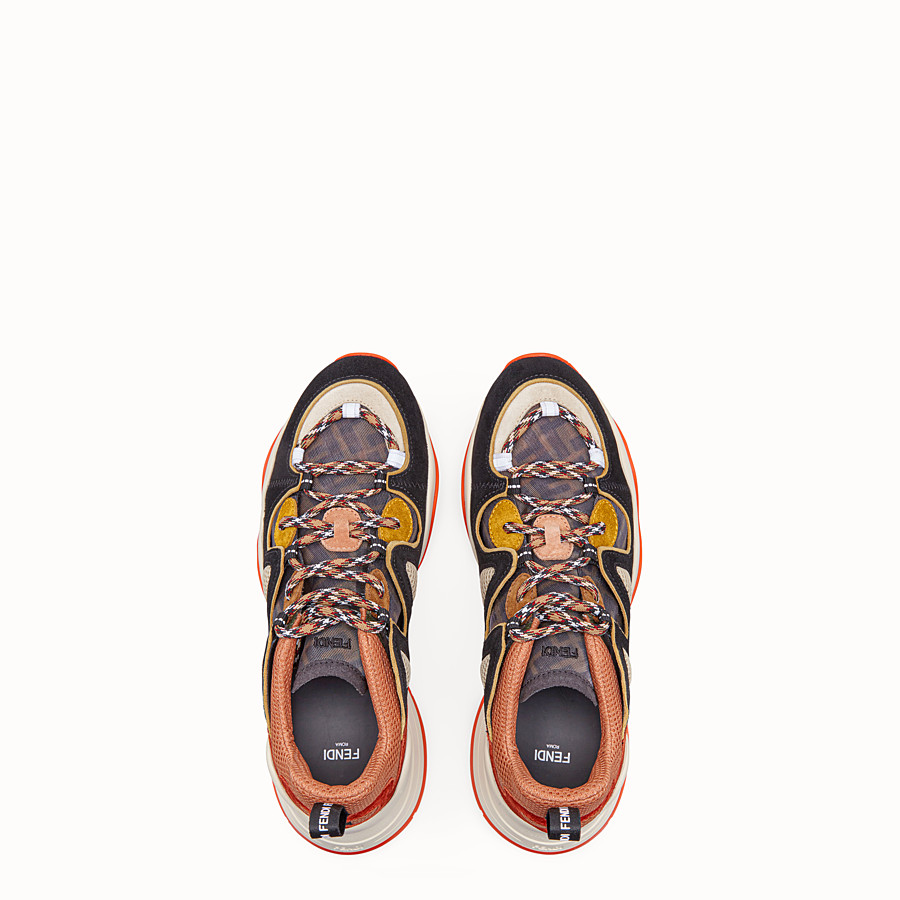 FENDI SNEAKERS - Multicolour suede and tech mesh sneakers - view 4 detail