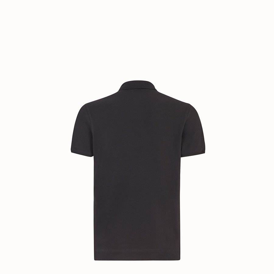 FENDI T-SHIRT - Black cotton polo shirt - view 2 detail