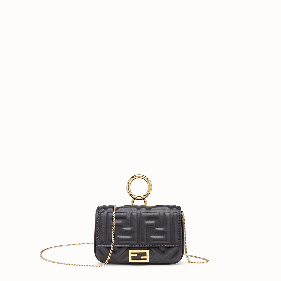 FENDI NANO BAGUETTE CHARM - Black nappa leather charm - view 1 detail