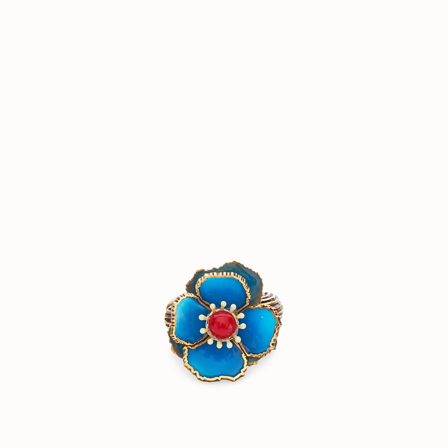 FENDI FLOWERS EARRINGS - Blue enameled earrings - view 2 detail