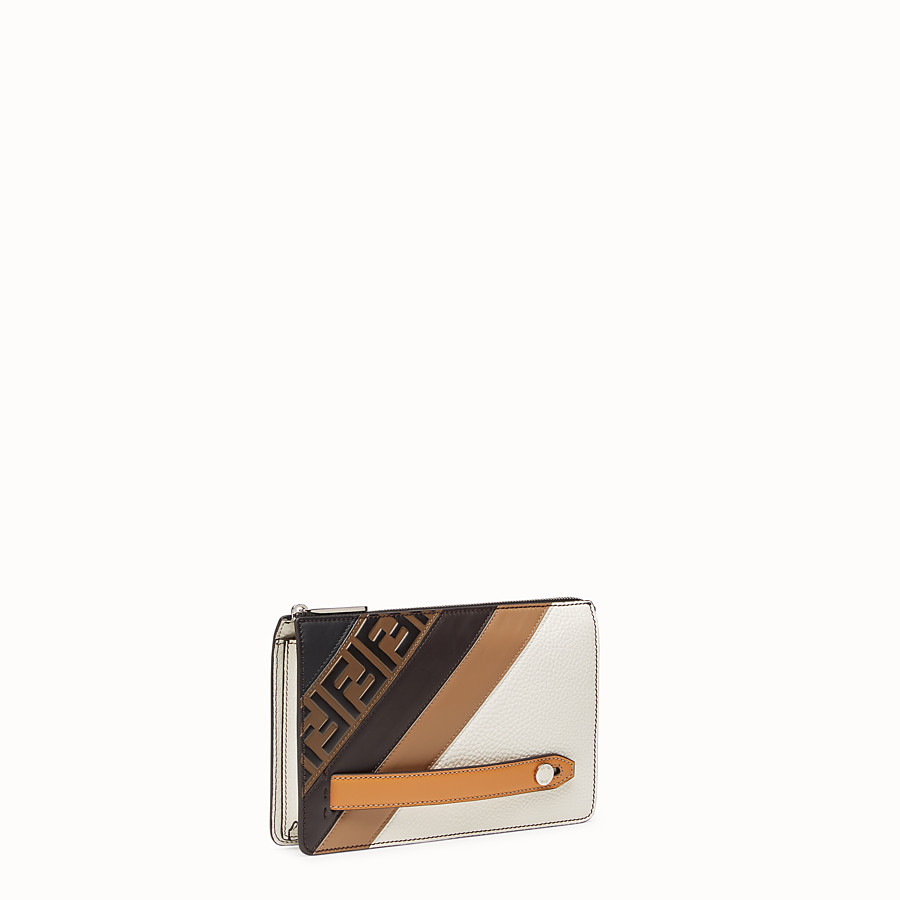 FENDI CLUTCH - White Romano leather pochette - view 2 detail