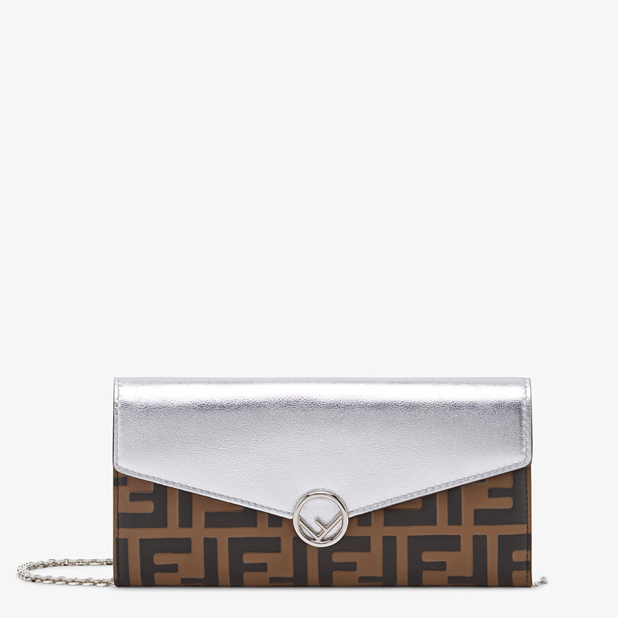 FENDI CONTINENTAL WITH CHAIN - Silver leather wallet - view 1 detail