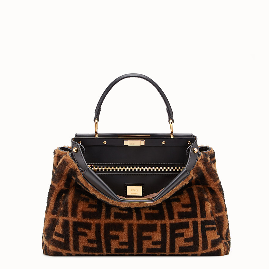 FENDI PEEKABOO ICONIC MEDIUM - Brown sheepskin bag - view 1 detail