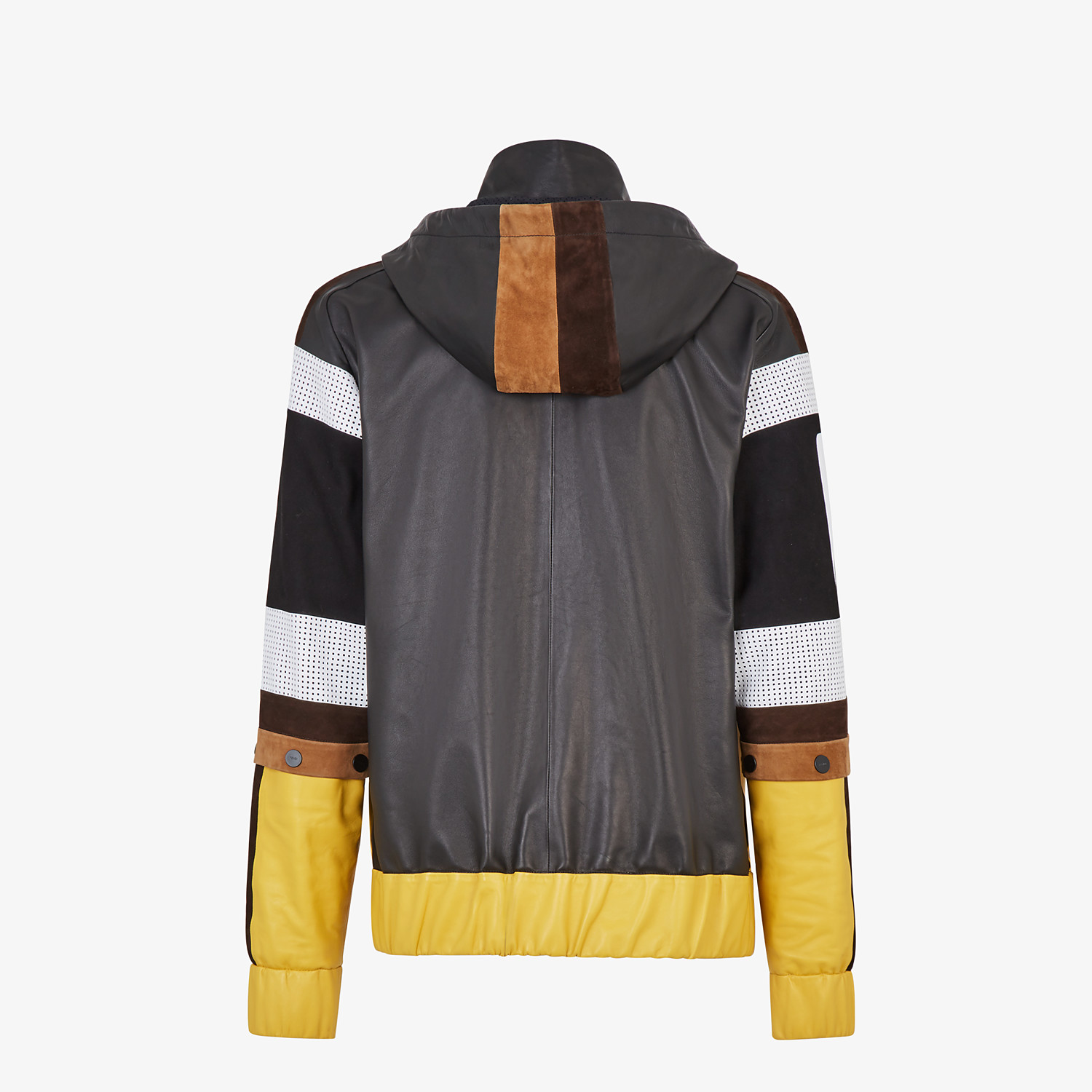 FENDI JACKET - Multicolour leather and suede jacket - view 2 detail