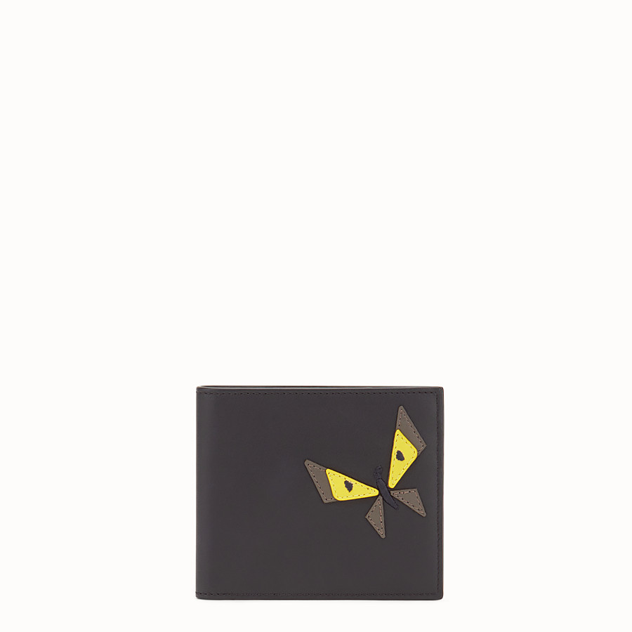 FENDI WALLET - Black leather bi-fold with inlay - view 1 detail