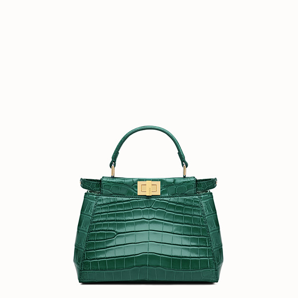 FENDI PEEKABOO MINI - Green crocodile leather handbag. - view 1 small thumbnail